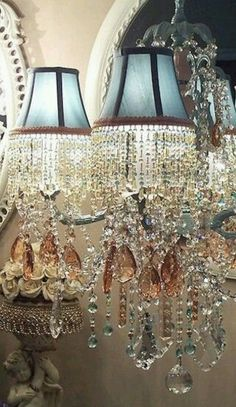 Sconces draped in Crystal,Pretty BLUE MINATURE LAMPSHADES AND BLUE AND CLEAR BEADED FRINGED TRIM THAT WOULD MAKE A STUNNING STATEMENT 4 FRENCH COUNTRY,FORMAL FRENCH,OLDWORLD,GLAM CHIC,OLDWORLD FRENCH,PARISIAN & VICTORIAN DECORS IN A BLUE COLOR SCHEME.CHERIE