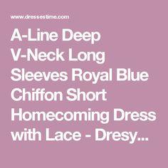 A-Line Deep V-Neck Long Sleeves Royal Blue Chiffon Short Homecoming Dress with Lace - Dresywomen.com.