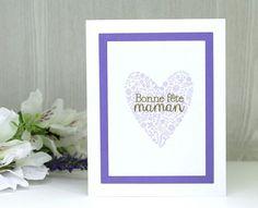 awesome Idées cadeaux pour la fête des mères 2017  - Handmade Bonne fête Maman Card - French Mothers Day Card - White purple and gol...