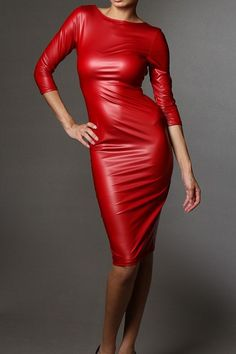 #Red #leather #dress