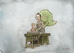 Scott Campbell riffs on the popular Demi Moore/Patrick Swayze pottery scene from Ghost. (Watercolor)