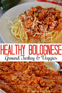 Traditional Italian bolognese meat sauce gets lightened up with this delicious ground Turkey Vegetable Spaghetti recipe. Healthy and easy, this is a great recipe for weeknight dinner and is ready in 30 minutes. Ground Turkey Spaghetti, Pasta With Ground Turkey, Veggie Spaghetti, Spaghetti Noodles, Ground Chicken, Ground Beef, Turkey Sauce, Italian Meat Sauce, Healthy Ground Turkey