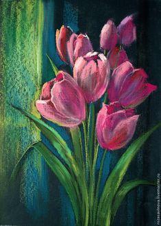 Картины цветов ручной работы. Ярмарка Мастеров - ручная работа. Купить Тюльпаны. Handmade. Розовый, масляная пастель, букет цветов