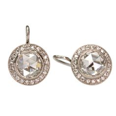 Rose Cut Diamond Earrings | From a unique collection of vintage drop earrings at http://www.1stdibs.com/jewelry/earrings/drop-earrings/