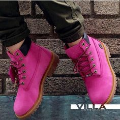 Pink Timberland boots