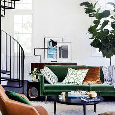 Green velvet & tan leather @homebeautiful