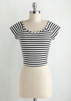 Roller Derby Date Striped Top in Black