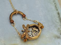steampunk necklace gold filled TIME TRAVELER'S SUITCASE