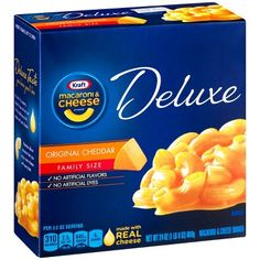 Box includes elbow macaroni noodles and original cheddar cheese sauce made with real cheese. One 24 oz. box of Kraft Deluxe Original Cheddar Macaroni and Cheese Dinner. In the case of factory defects, if available, we will replace the product for you. Mac And Cheese Pizza, Kraft Mac N Cheese, Chili Mac And Cheese, Boxed Mac And Cheese, Cheddar Cheese Sauce, Macaroni Cheese, Kraft Recipes, Kraft Foods, Broccoli Nutrition