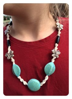A high quality, necklace with an excellent bead combination. The cording is hemp and the overall look is a rustic, natural. The legnth and varity of textures, make it an ideal option for a nursing necklace. Turquoise and Black Natural Hemp Knotted by FreshDewDrops on Etsy
