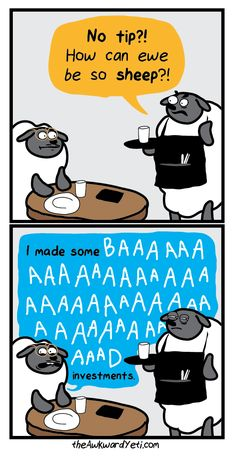 These 5 Puns Are So Bad They're Good. Number 2 Is My Favorite (Pun Intended). Funny Puns, Hilarious, Funny Stuff, Sheep Puns, The Awkward Yeti, Life Comics, Laughing So Hard, I Laughed, Cute Pictures