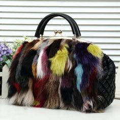 71.19$  Watch here - http://alilzu.worldwells.pw/go.php?t=32762369472 - Free shipping winter  New fashion Multi-color Fox fur shell style Shoulder handbag 71.19$
