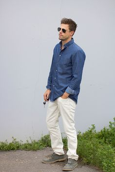 H Button UP / Gap Jeans / Asos Grey Desert Boot // Here Come the Boys