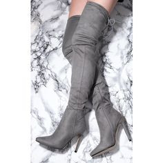 SpyLoveBuy Namje Lace Up High Heel Stiletto Over Knee Tall Boots... ($50) ❤ liked on Polyvore featuring shoes, boots, over the knee boots, suede thigh-high boots, over-the-knee lace-up boots, gray suede over the knee boots and knee-high lace-up boots