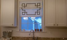 Greek key Ribbon Design Roman Shade, all materials included, just need measurements and desired trim color Faux Roman Shades, Custom Roman Shades, Relaxed Roman Shade, Grommet Curtains, Drapery, Valance, Window Seat Cushions, Pottery Barn Inspired, Custom Window Treatments