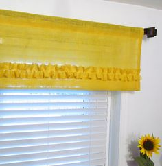 BURLAP Ruffled Valance Yellow Rustic Curtain by supplierofdreams, $42.00