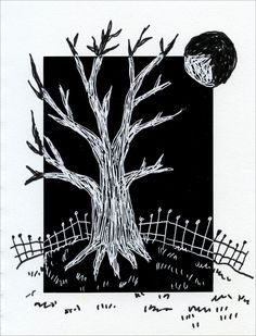Negative/Positive Space. 1. Glue a sheet of Scratch Art paper to a larger sheet of drawing paper. A white border that is 2 to 3 inches wide is best. 2. Use a wooden stylus to draw a tree that is going off the scratch paper. Details like a fence, grass and moon may be added. 3. Finish all the shapes that are going off the page with a thin black marker.