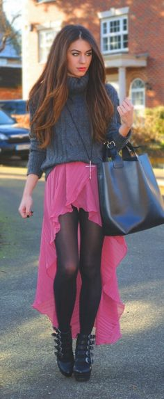 hate the shoes but i love how she used the sweater and tights to balance out the summer skirt and rewear it for fall