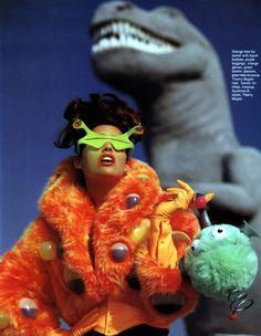 """owenancens:  """"Mugler's Monster Show"""" Shana Zadrick by Gilles Bensimon for Elle US November 1991"""