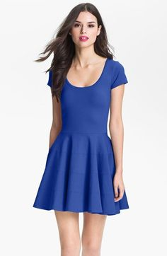 royal blue fit and flare dress