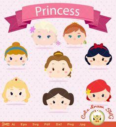 Tsum Tsum Princess, Disney Tsum Tsum, Kawaii Disney, Macaroon Template, Princess Party, Disney Princess, Biscuit, Paper Quilling, Princesas Disney