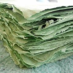 Recycle! The recycled paper in these was made from various papers that include; computer paper, magazines, scrap booking paper, construction paper, card stock, and other miscellaneous papers and advertisements. This group of papers is a lovely tea green color (maybe you see a minty green, moss green or even Celadon) based on the colors of paper that were recycled. The paper will vary slightly in color, thickness, and texture from each piece to the next as handmade paper sometimes can making…
