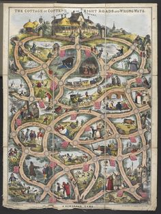 William Matthias Spooner's 'The Cottage of Content or Right Road and Wrong Ways.  A Humorous Game' ... boardgame based on following route on a map to the Cottage of Content at the top of the map, 1848, UK