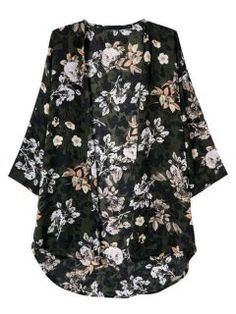 I have this black floral kimono coat from #choies