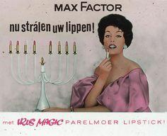 Max Factor - nu strálen uw lippen! - met Iris Magic parelmoer lipstick! - reclame