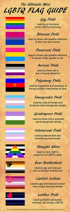 """The Ultimate LGBTQ Flag Guide Gay Pride Bisexual Pride Pansexual Pride Asexual Pride Polamory Pride Transgender Pride Genderqueer Pride Intersex Pride Straight Allies Bear Brotherhood Lipstick Lesbians Leather Pride http://asexy-slice-of-cake.tumblr.com/post/36651136783/rainbowdoubts-for-beginners-this-is-cool"