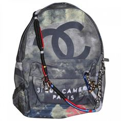 Graffiti backpack CHANEL ($4,220) ❤ liked on Polyvore featuring bags, backpacks, chanel bags, grey backpack, grey bag, cotton bag and rucksack bag