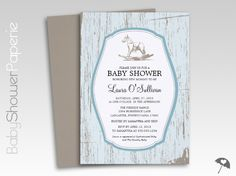 Rustic Wood Rocking Horse Baby Shower Invitations