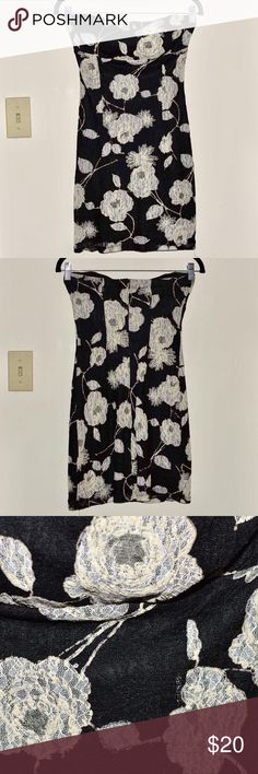 """Forever 21 Black Floral Strapless Dress Black strapless dress with lace floral design. Approx 25"""" length. Small hole in lace in the back (see last pic). Forever 21 Dresses Mini"""