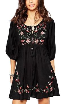 Bohemian Floral Embroidery Dress