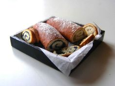 Poppy seed and walnut rolls - Miniature in 1:12 by Erzsébet Bodzás, IGMA Artisan