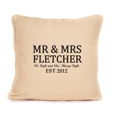 Mr and Mrs Surname Personalised Cushion Gift - Wedding Anniversary - Valentines Day - Scatter Pillow Perfect Gift Idea For Friends and Family - New Unique Design
