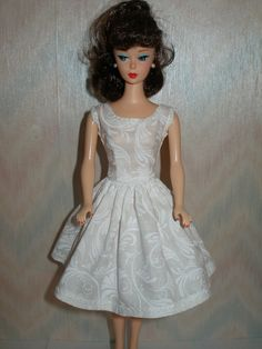Handmade Barbie doll clothes  white dress by TheDesigningRose, $6.00