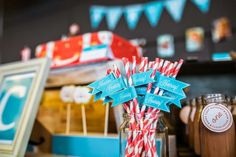 Striped paper straws at an airplane birthday party! See more party planning ideas at CatchMyParty.com!
