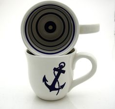 Anchor Nautical Navy Blue and White Large Mug by LennyMud on Etsy Nautical Design, Nautical Anchor, Nautical Home, Love Blue, Blue And White, My Love, Pottery Store, Navy Mom, Earthenware Clay