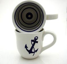 Anchor Nautical Navy Blue and White Large Mug