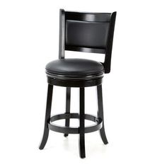 "Darby Home Co Orangeville 24"" Swivel Bar Stool Finish: Black, Upholstery: Black"