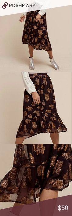 Anthropologie Midi Skirt NWT Anthropologie  Mid calf Black chiffon Metallic copper detailed floral print Subtle high/low design Low drop hem Viscose Handwash Anthropologie Skirts A-Line or Full