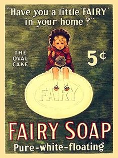 Fairy Soap Metal Sign: Soap, Laundry, and Bathroom Decor Wall Accent by Yerkes