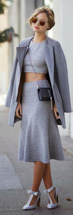 Fashion trends | Grey crop top, skirt, coat