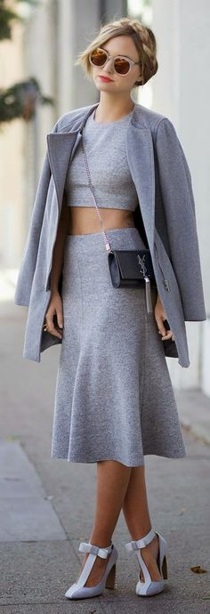 Fashion trends | Grey crop top, skirt, coat