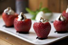 Basil Whipped Goat Cheese Stuffed Strawberries with Balsamic Glaze