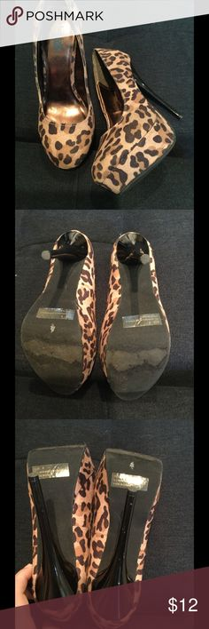 Leopard Platform Heels Gently used! Great to pair with a solid dress or wear with skinny pants. Patent like heel. Charlotte Russe Shoes Heels