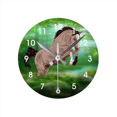Jumping Buckskin Horse Round Clock