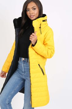 Dámska žltá prešívaná bunda s kapucňou Winter Jackets, Fashion, Moda, Winter Vest Outfits, La Mode, Fasion, Fashion Models, Trendy Fashion