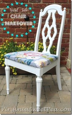 Yard Sale Chair Painted with Annie Sloan Chalk Paint by virginiasweetpea.com